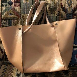 Neiman Marcus large tote purse rose gold blush